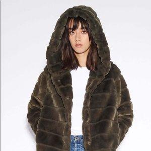 New APPARIS Faux Fur Hooded Jacket Coat